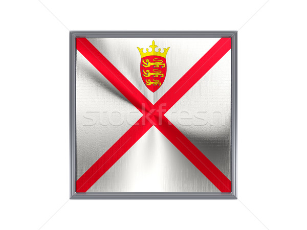 Square metal button with flag of jersey Stock photo © MikhailMishchenko