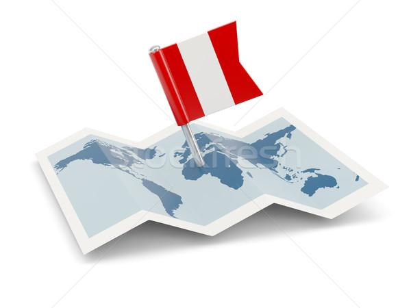 Mapa bandera Perú aislado blanco Foto stock © MikhailMishchenko