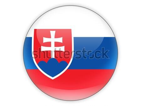 Sticker vlag Slowakije geïsoleerd witte reizen Stockfoto © MikhailMishchenko