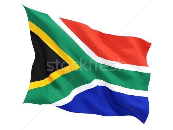 Vlag South Africa geïsoleerd witte Stockfoto © MikhailMishchenko