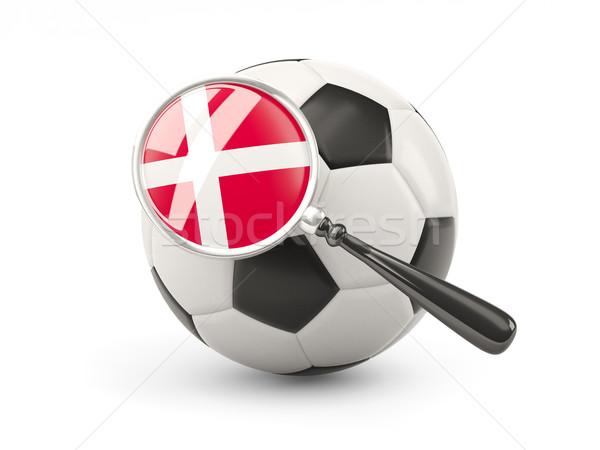 Futball nagyított zászló Dánia izolált fehér Stock fotó © MikhailMishchenko
