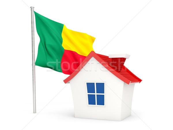 Casa bandiera Benin isolato bianco home Foto d'archivio © MikhailMishchenko