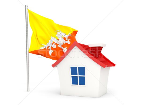 Huis vlag Bhutan geïsoleerd witte home Stockfoto © MikhailMishchenko