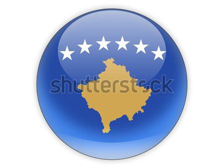 ícone bandeira Kosovo isolado branco viajar Foto stock © MikhailMishchenko