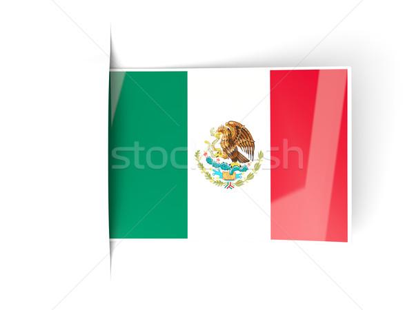 Square label with flag of mexico Stock photo © MikhailMishchenko