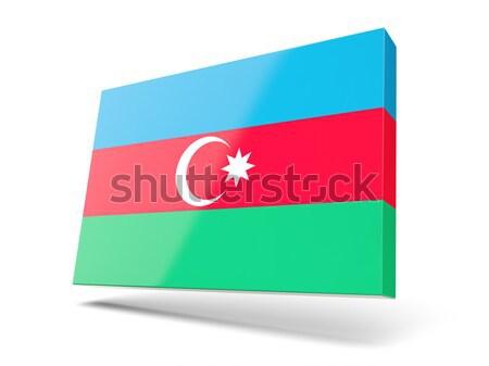 Placu ikona banderą Azerbejdżan odizolowany biały Zdjęcia stock © MikhailMishchenko