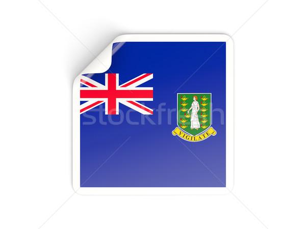 квадратный наклейку флаг британский Виргинские о-ва изолированный Сток-фото © MikhailMishchenko