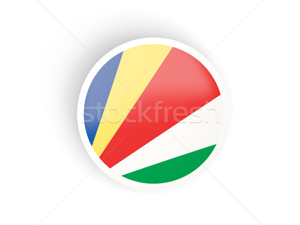 Stock photo: Round sticker with flag of seychelles