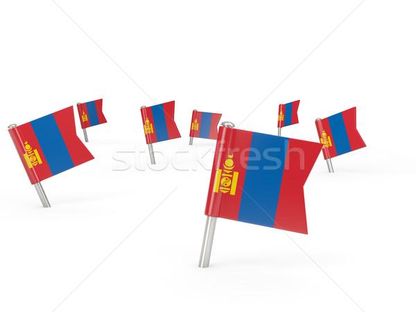 Vierkante vlag Mongolië geïsoleerd witte land Stockfoto © MikhailMishchenko
