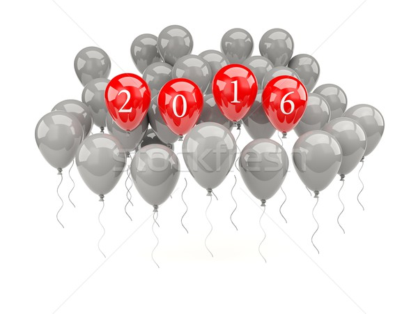 Red air balloons with 2016 New Year sign Stock photo © MikhailMishchenko