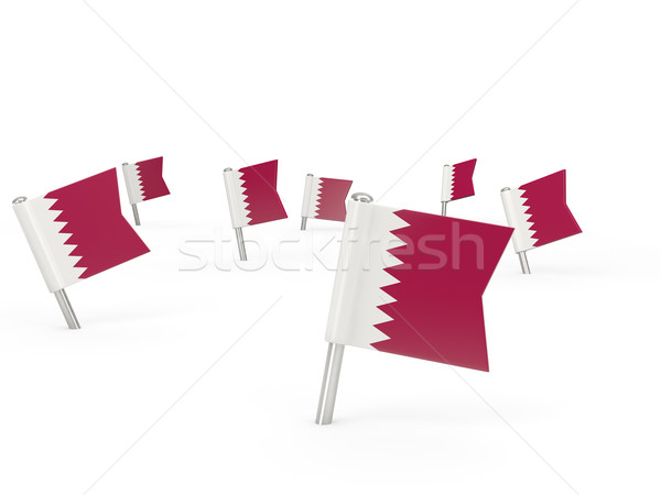 Square pins with flag of qatar Stock photo © MikhailMishchenko