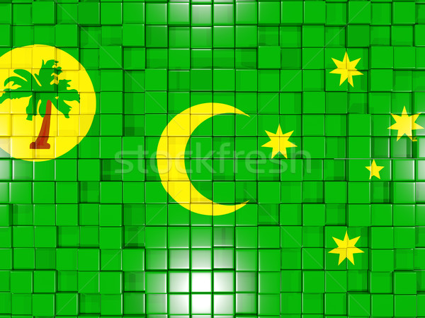Background with square parts. Flag of cocos islands. 3D illustra Stock photo © MikhailMishchenko