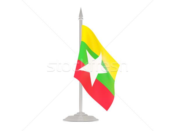Banderą Myanmar maszt 3d odizolowany biały Zdjęcia stock © MikhailMishchenko