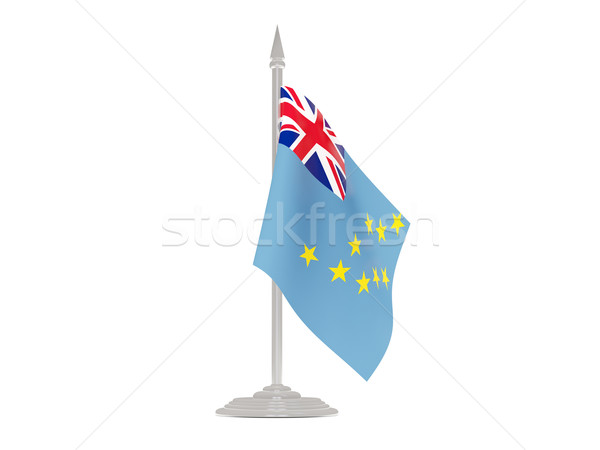 Bandera Tuvalu asta de bandera 3d aislado blanco Foto stock © MikhailMishchenko
