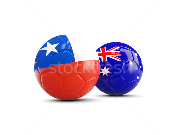 Two footballs with flags of Chile and Australia isolated on whit Stock photo © MikhailMishchenko