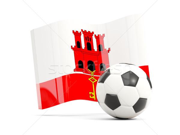Piłka nożna banderą gibraltar odizolowany biały Zdjęcia stock © MikhailMishchenko