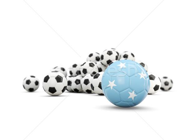 Futebol bandeira isolado branco ilustração 3d esportes Foto stock © MikhailMishchenko