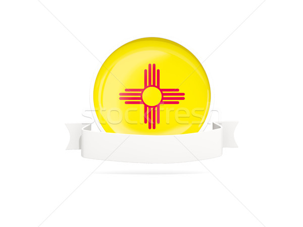 Flag of new mexico with banner, US state round icon Stock photo © MikhailMishchenko