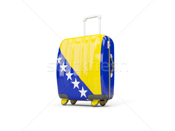 Foto stock: Equipaje · bandera · maleta · aislado · blanco · 3d