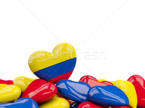 Hart vlag Colombia top harten geïsoleerd Stockfoto © MikhailMishchenko