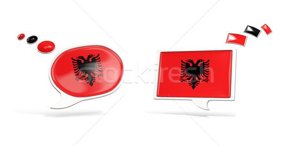 Two chat icons with flag of albania Stock photo © MikhailMishchenko