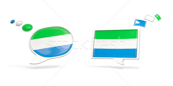 Two chat icons with flag of sierra leone Stock photo © MikhailMishchenko