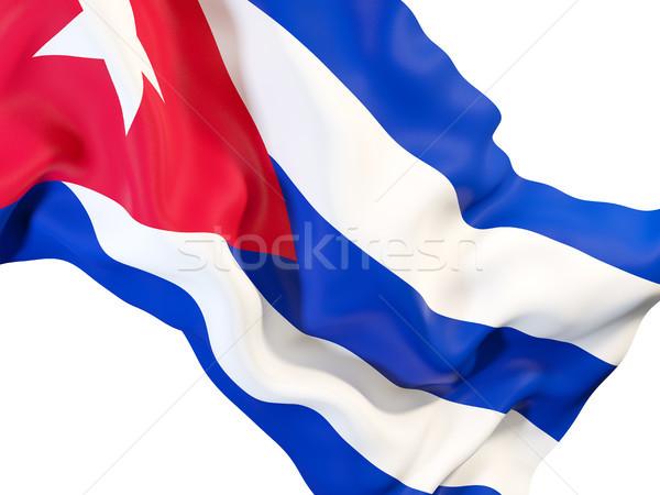 Bandiera Cuba primo piano illustrazione 3d viaggio Foto d'archivio © MikhailMishchenko