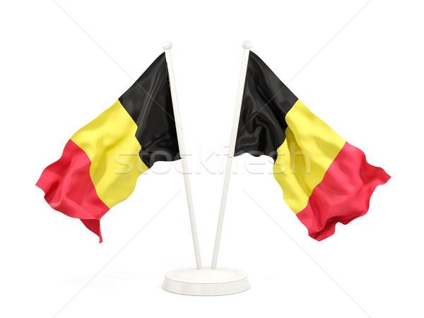 Dos banderas Bélgica aislado blanco Foto stock © MikhailMishchenko