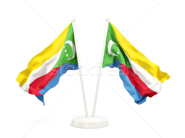 Two waving flags of comoros Stock photo © MikhailMishchenko