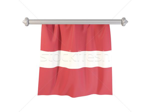 Vlag Letland geïsoleerd witte 3d illustration label Stockfoto © MikhailMishchenko