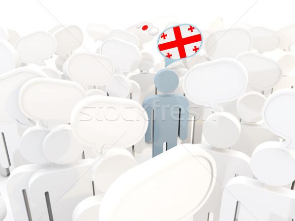 человека флаг Грузия толпа 3d иллюстрации знак Сток-фото © MikhailMishchenko