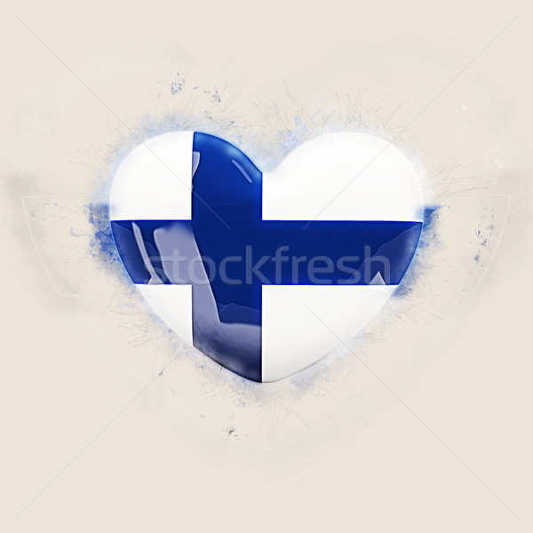 Szív zászló Finnország grunge 3d illusztráció utazás Stock fotó © MikhailMishchenko