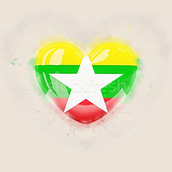 Hart vlag Myanmar grunge 3d illustration reizen Stockfoto © MikhailMishchenko