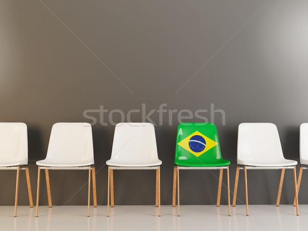 Председатель флаг Бразилия белый стульев Сток-фото © MikhailMishchenko