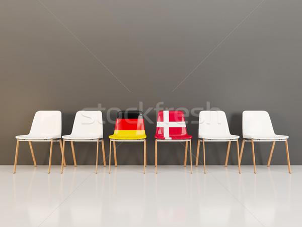 Stoelen vlag Duitsland Denemarken rij 3d illustration Stockfoto © MikhailMishchenko