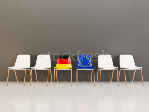 Chairs with flag of Germany and EU in a row Stock photo © MikhailMishchenko