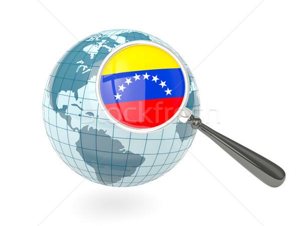 Vlag Venezuela Blauw wereldbol geïsoleerd Stockfoto © MikhailMishchenko