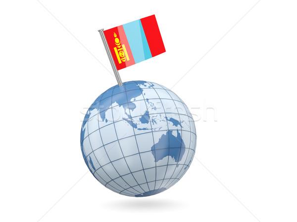 Földgömb zászló Mongólia kék izolált fehér Stock fotó © MikhailMishchenko