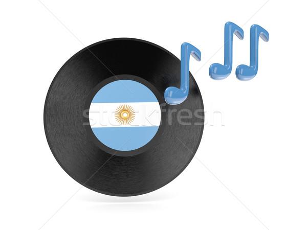 Vinil disco bandeira Argentina isolado branco Foto stock © MikhailMishchenko