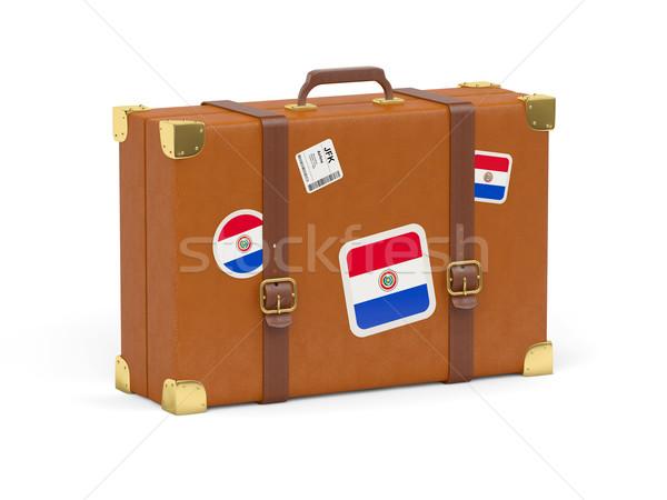 Bőrönd zászló Paraguay utazás izolált fehér Stock fotó © MikhailMishchenko
