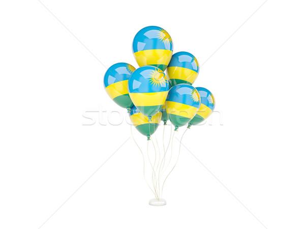 Pływające balony banderą Rwanda odizolowany biały Zdjęcia stock © MikhailMishchenko