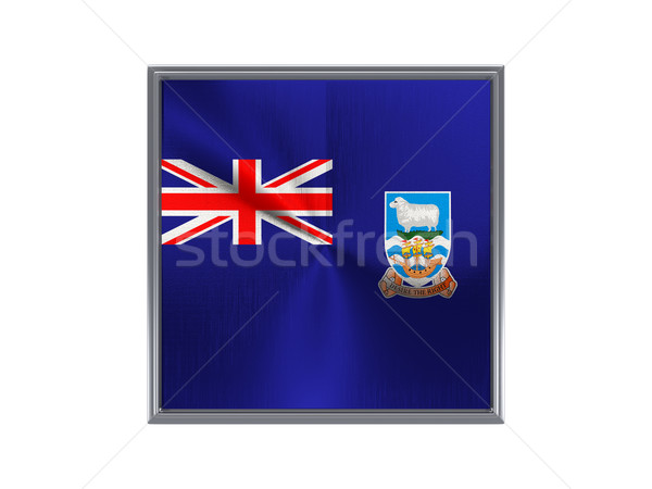 Square metal button with flag of falkland islands Stock photo © MikhailMishchenko