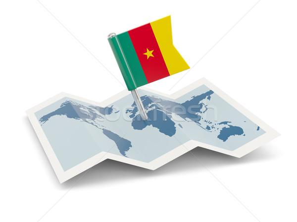 Kaart vlag Kameroen geïsoleerd witte Stockfoto © MikhailMishchenko