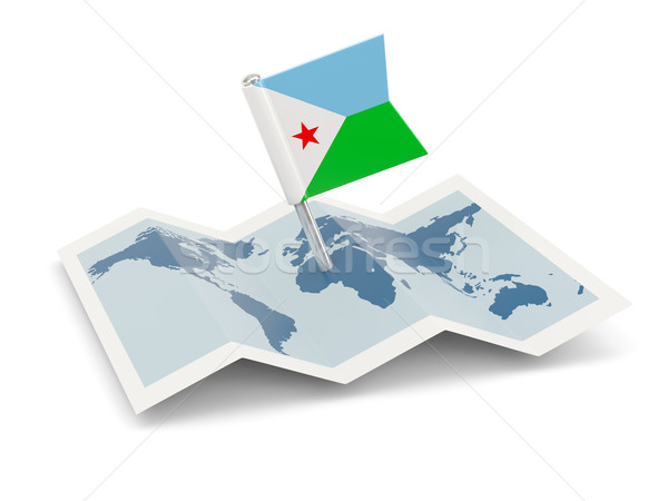 Pokaż banderą Dżibuti odizolowany biały Zdjęcia stock © MikhailMishchenko