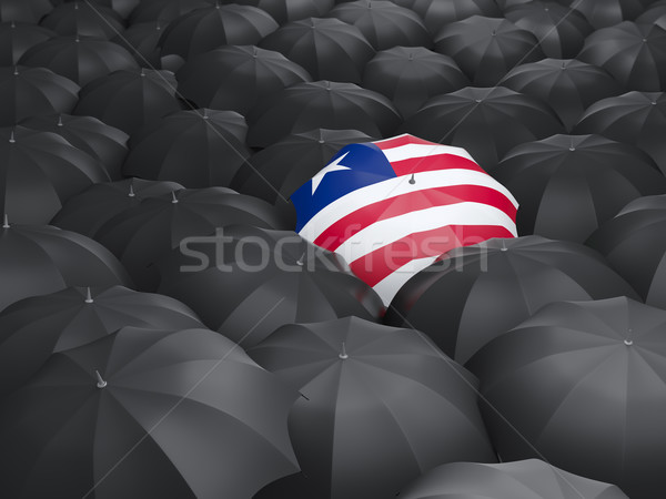 Guarda-chuva bandeira Libéria preto guarda-chuvas chuva Foto stock © MikhailMishchenko