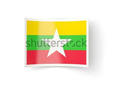 квадратный металл кнопки флаг Мьянма изолированный Сток-фото © MikhailMishchenko