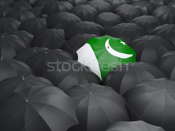 Esernyő zászló Pakisztán fekete esernyők eső Stock fotó © MikhailMishchenko