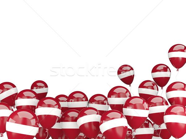 Vliegen ballonnen vlag Letland geïsoleerd witte Stockfoto © MikhailMishchenko