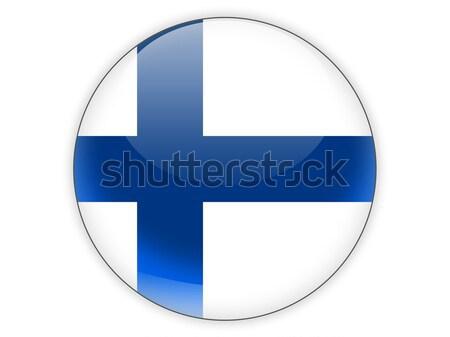 Icon vlag Finland geïsoleerd witte teken Stockfoto © MikhailMishchenko