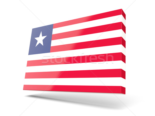 Praça ícone bandeira Libéria isolado branco Foto stock © MikhailMishchenko